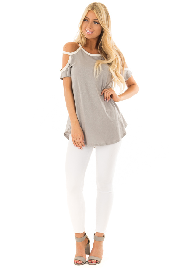 Heather Grey Cold Shoulder Top with Cream Trim front full body