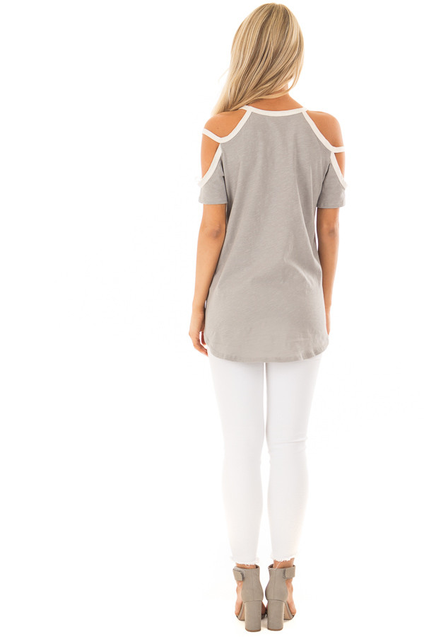 Heather Grey Cold Shoulder Top with Cream Trim back full body