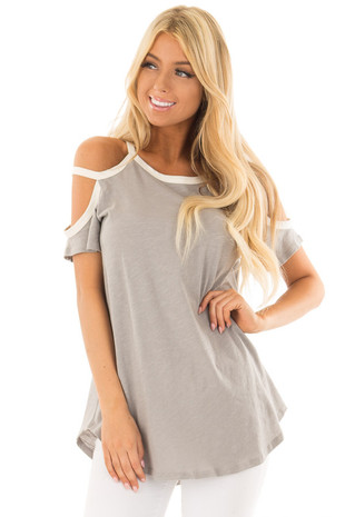 Heather Grey Cold Shoulder Top with Cream Trim front close up