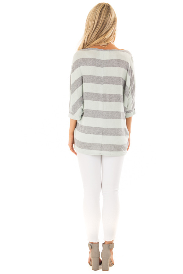 Mint and Heather Grey Striped One Shoulder Dolman Top back full body
