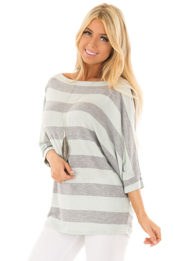 Mint and Heather Grey Striped One Shoulder Dolman Top front close up
