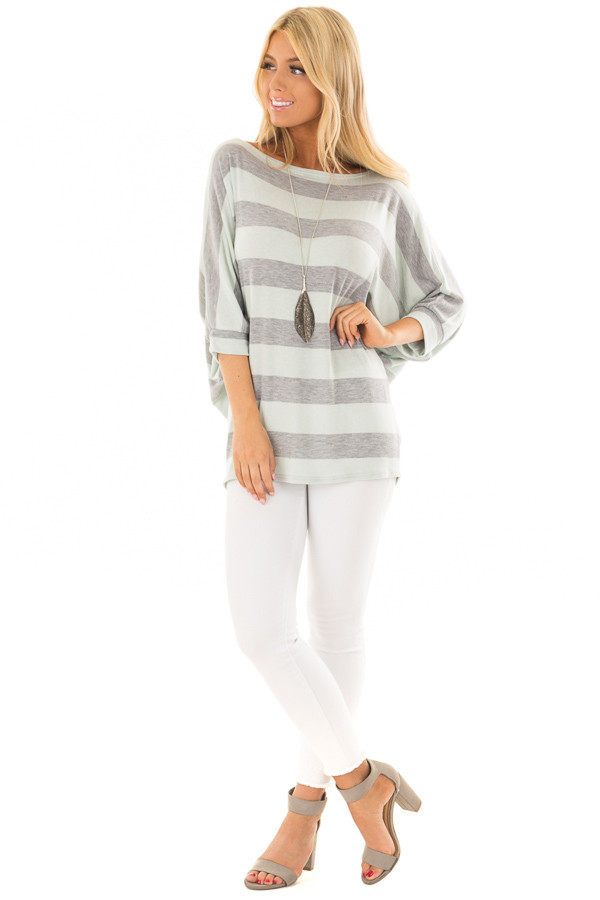 Mint and Heather Grey Striped One Shoulder Dolman Top front full body