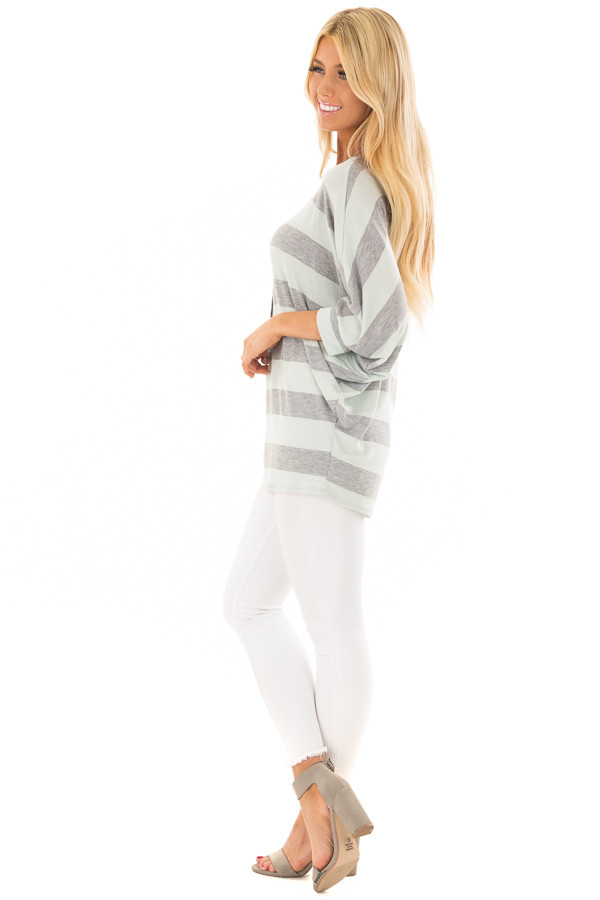 Mint and Heather Grey Striped One Shoulder Dolman Top side full body