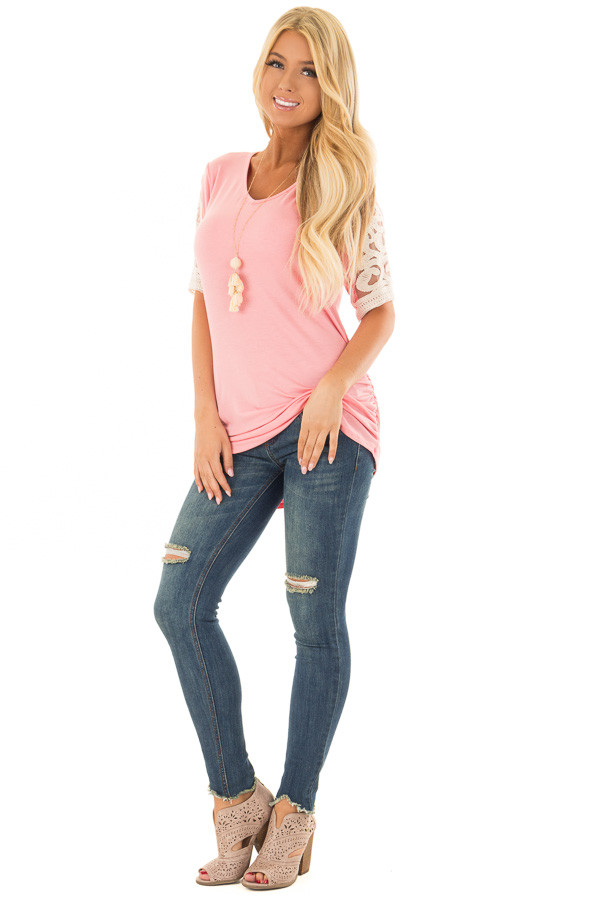 Bubblegum Pink Top with Lace Details and Side Ruching front full body