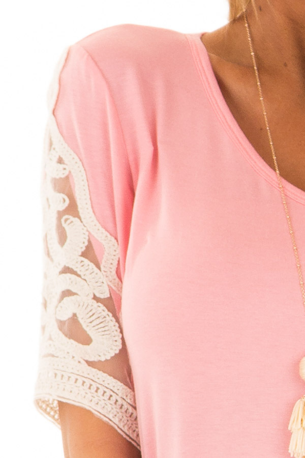 Bubblegum Pink Top with Lace Details and Side Ruching detail