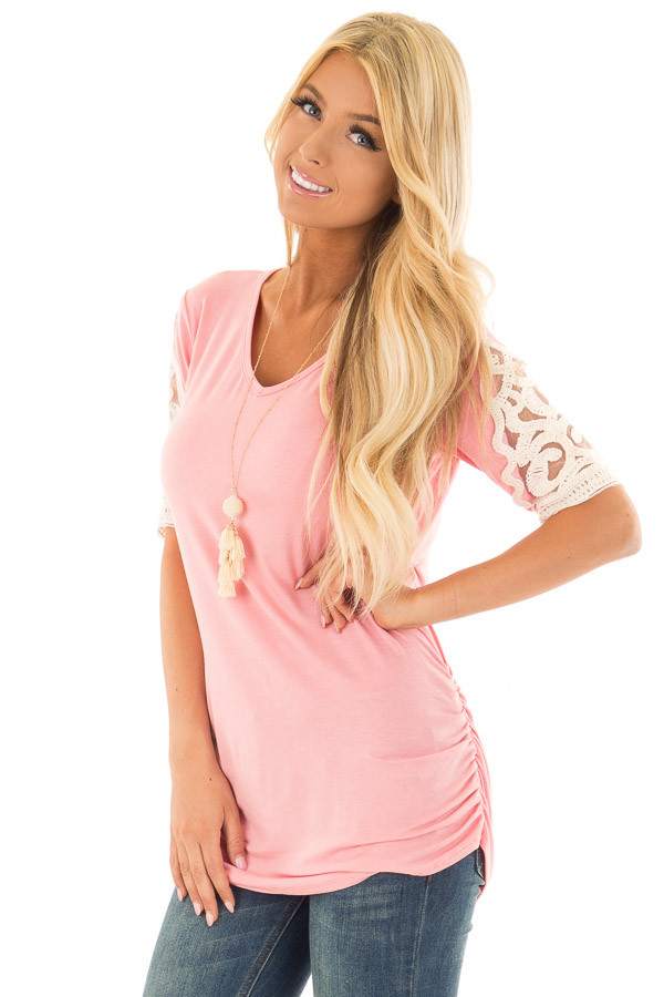 Bubblegum Pink Top with Lace Details and Side Ruching front close up