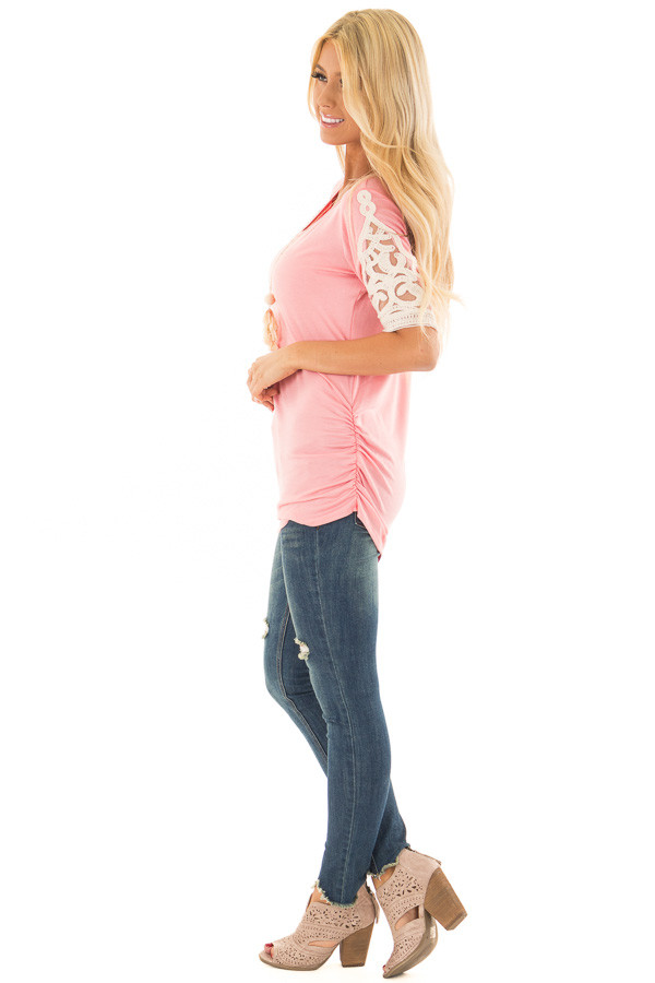 Bubblegum Pink Top with Lace Details and Side Ruching side full body