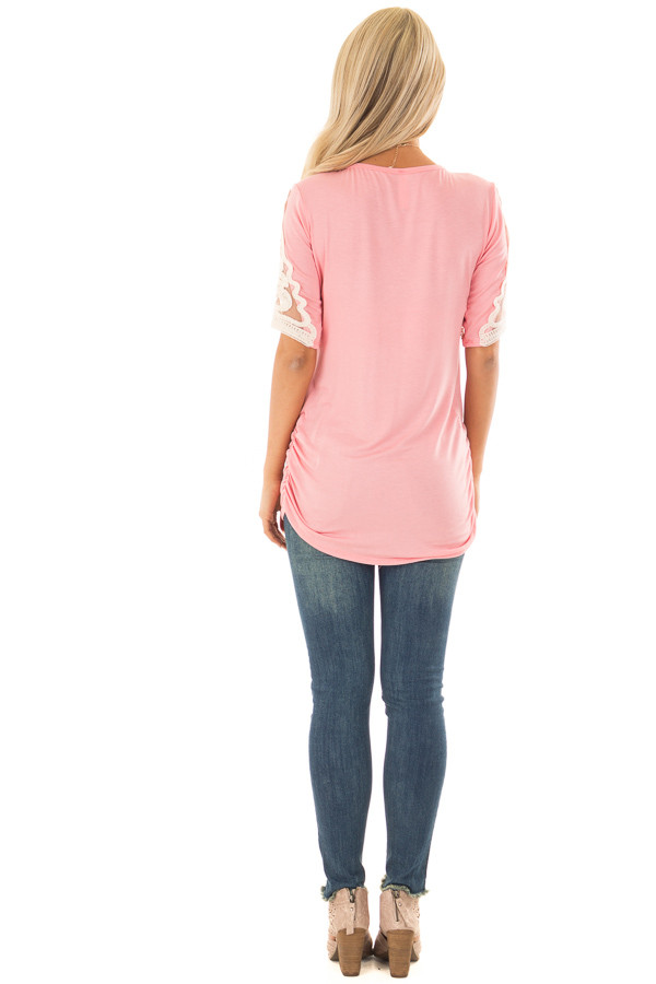 Bubblegum Pink Top with Lace Details and Side Ruching back full body