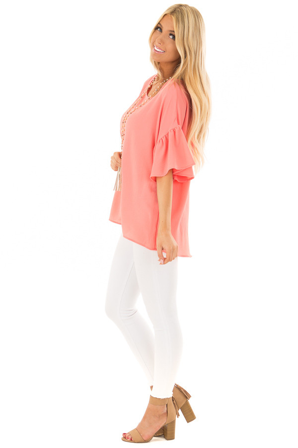 Coral Bell Sleeve Top side full body