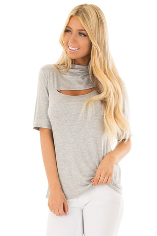 Heather Grey Short Sleeve Top with Front Slit Detail front close up