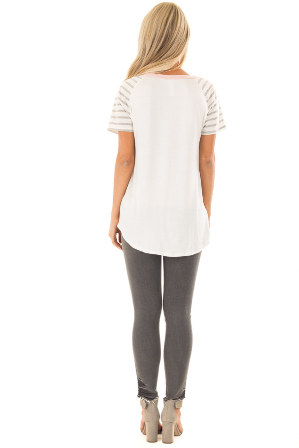 Blush Ivory and Striped Color Blocked Tee Shirt back full body