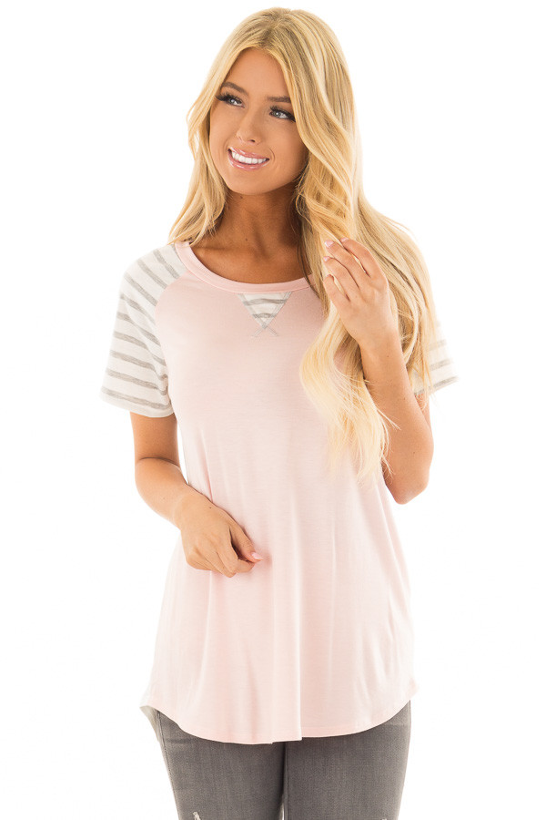 Blush Ivory and Striped Color Blocked Tee Shirt front close up