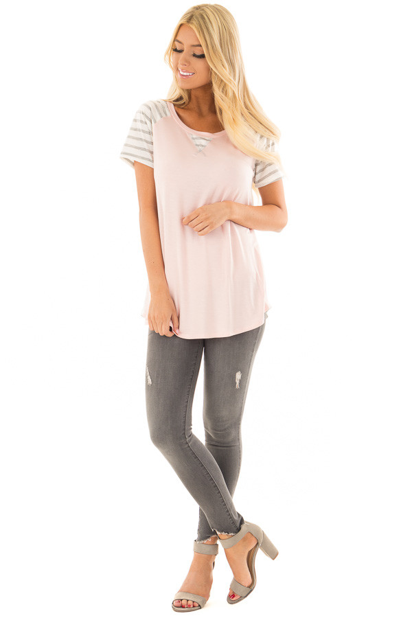 Blush Ivory and Striped Color Blocked Tee Shirt front full body