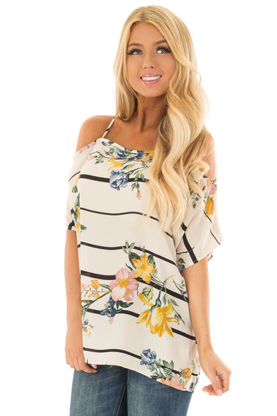 Cream Floral and Stripe Cold Shoulder Top front close up