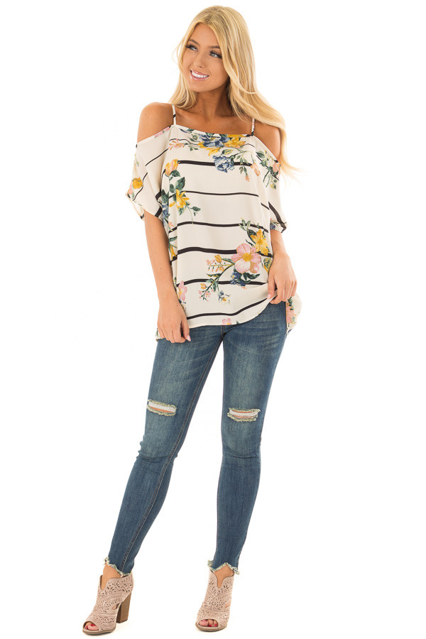 Cream Floral and Stripe Cold Shoulder Top front full body