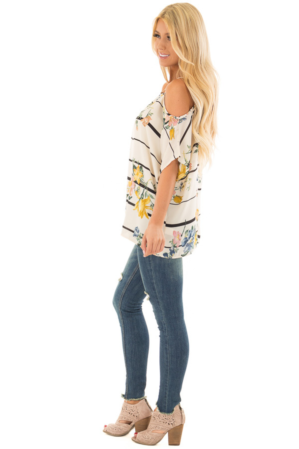 Cream Floral and Stripe Cold Shoulder Top side full body