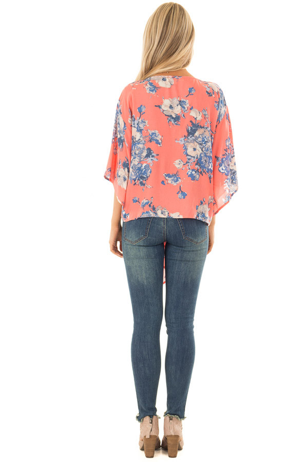 Coral and Dusty Blue Floral Print V Neck Top with Front Tie back full body