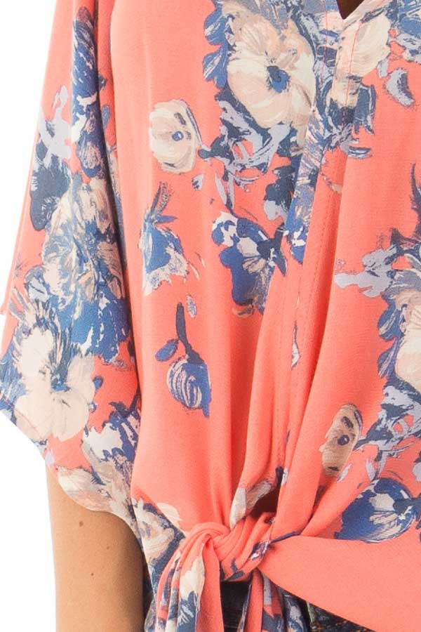 Coral and Dusty Blue Floral Print V Neck Top with Front Tie detail