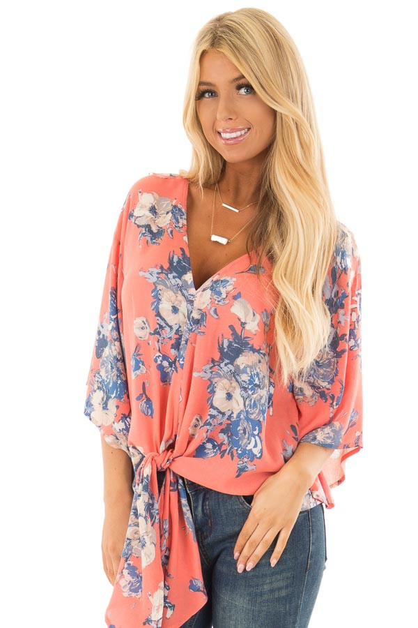 Coral and Dusty Blue Floral Print V Neck Top with Front Tie front close up