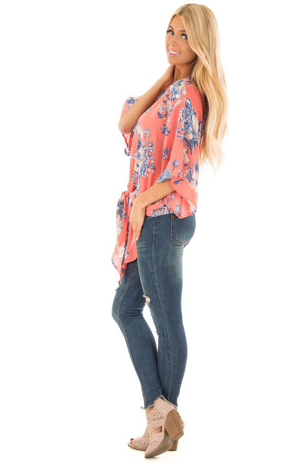 Coral and Dusty Blue Floral Print V Neck Top with Front Tie side full body