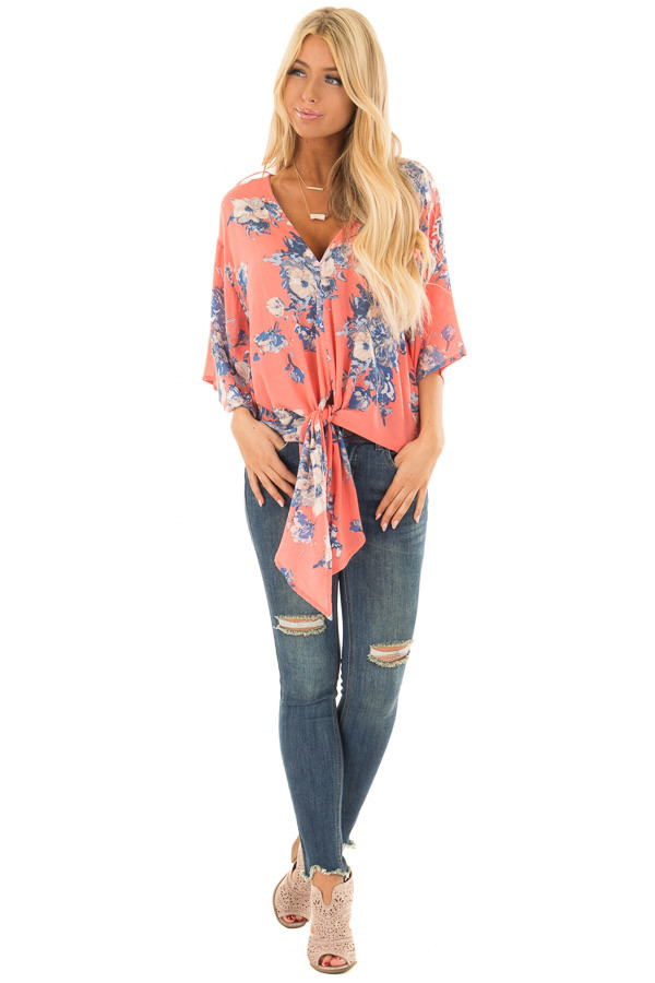 Coral and Dusty Blue Floral Print V Neck Top with Front Tie front full body