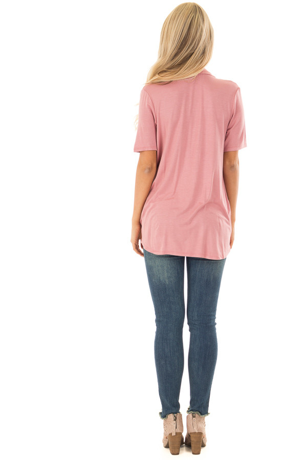 Mauve Draped Open Front Short Sleeve Shirt back full body