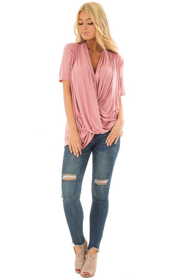 Mauve Draped Open Front Short Sleeve Shirt front full body