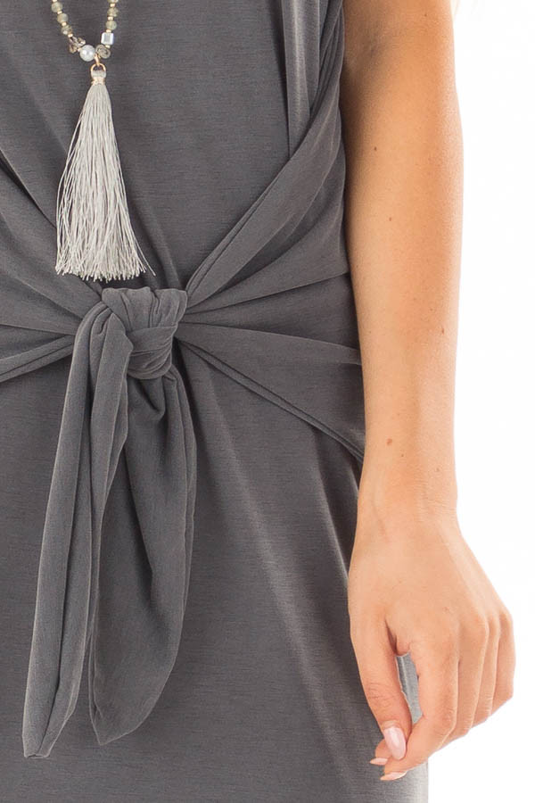 Charcoal Super Soft Tank Top Dress with Waist Tie detail