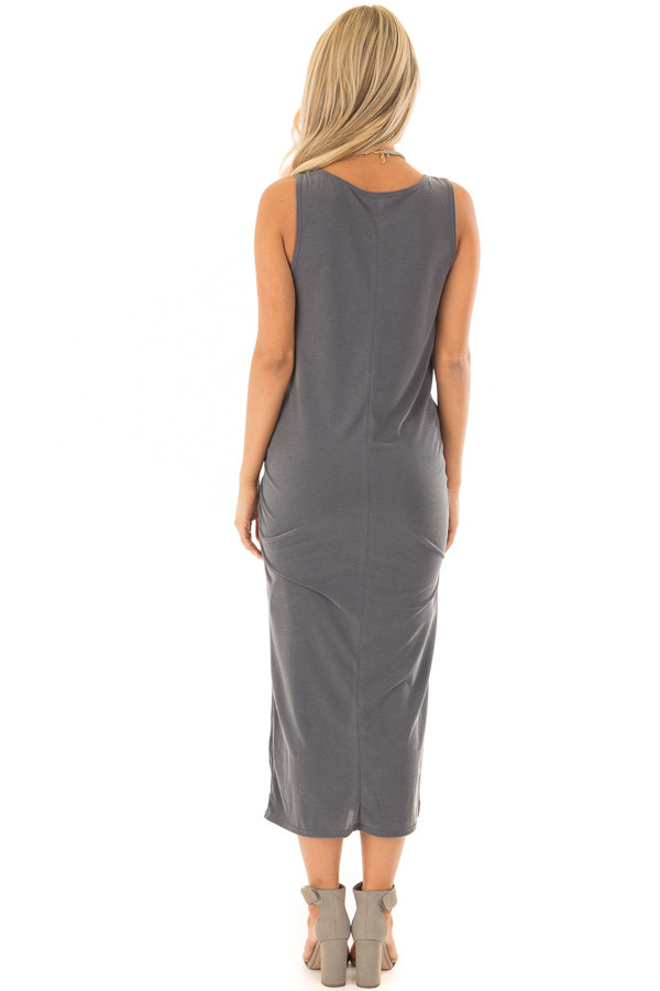 Charcoal Super Soft Tank Top Dress with Waist Tie back full body