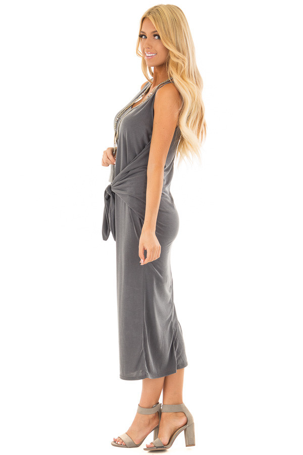 Charcoal Super Soft Tank Top Dress with Waist Tie side full body