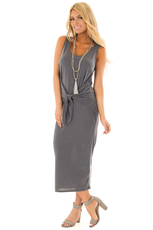 Charcoal Super Soft Tank Top Dress with Waist Tie front full body