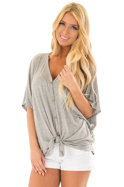 Heather Grey Button Down Jersey Knit Top with Front Tie front close up