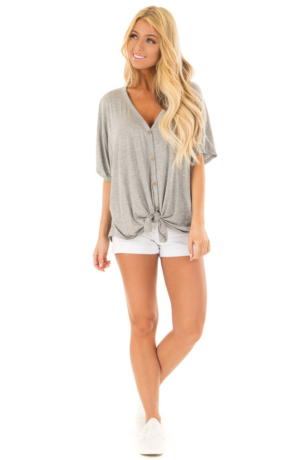 Heather Grey Button Down Jersey Knit Top with Front Tie front full body