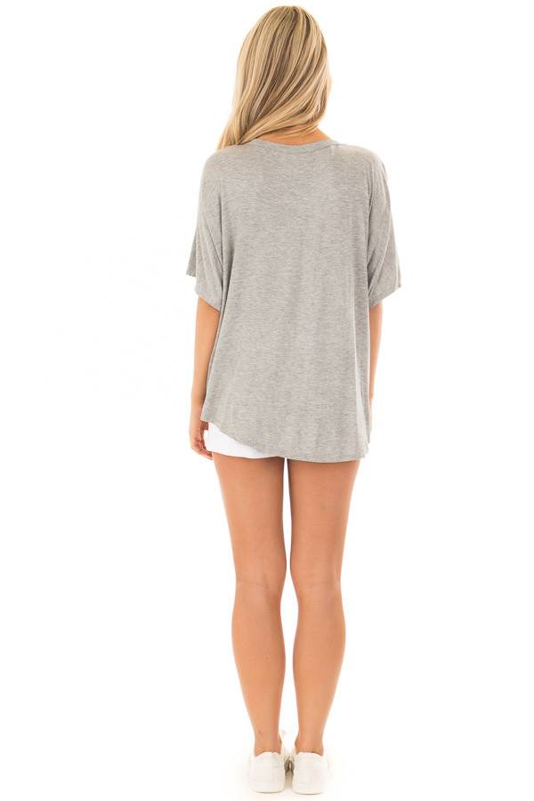 Heather Grey Button Down Jersey Knit Top with Front Tie back full body