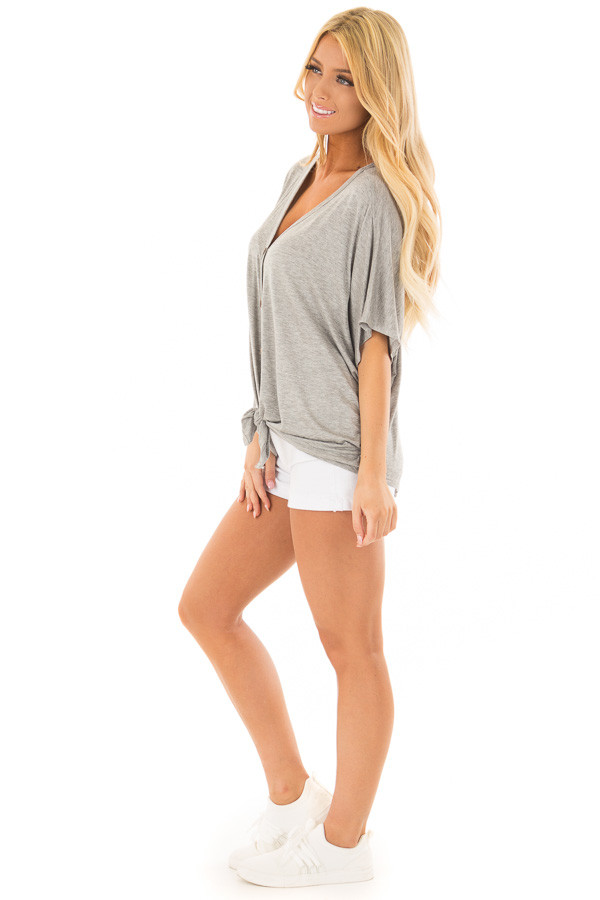 Heather Grey Button Down Jersey Knit Top with Front Tie side full body