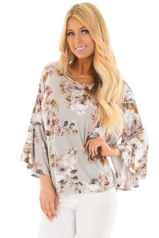 Light Grey Floral Print 3/4 Bell Sleeve Top front close up