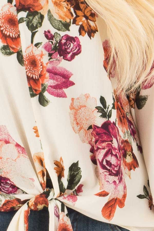 Cream Floral Print Oversized Top with Front Tie detail