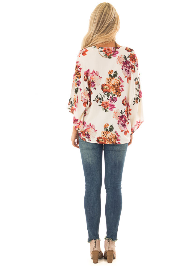 Cream Floral Print Oversized Top with Front Tie back full body