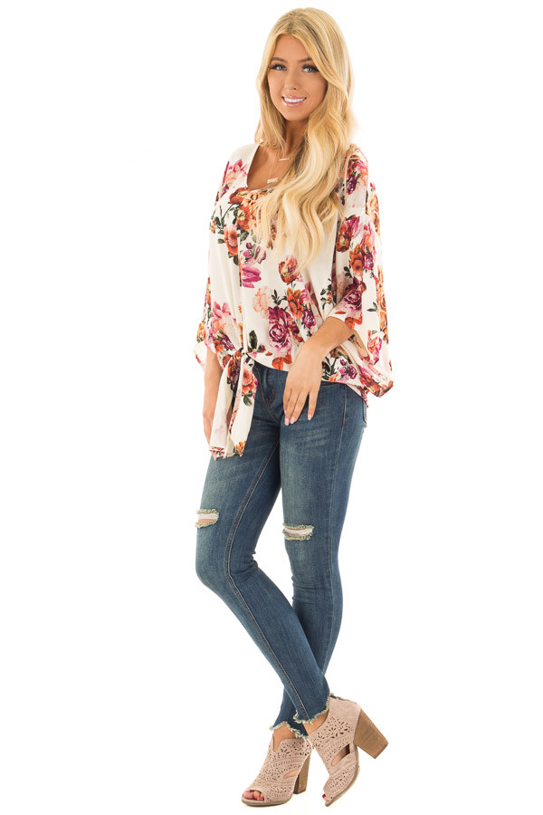 Cream Floral Print Oversized Top with Front Tie front full body