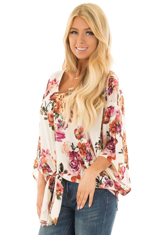 Cream Floral Print Oversized Top with Front Tie front close up