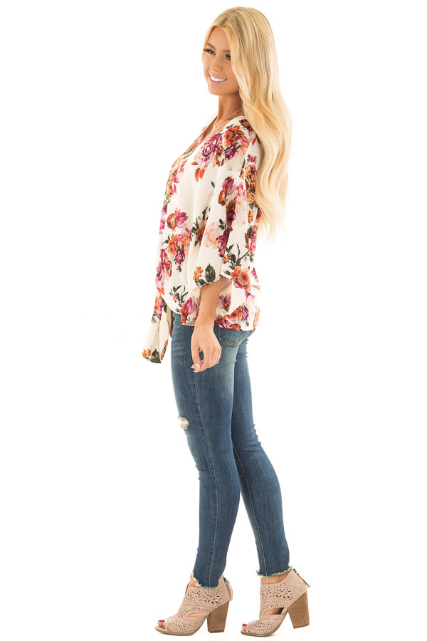 Cream Floral Print Oversized Top with Front Tie side full body