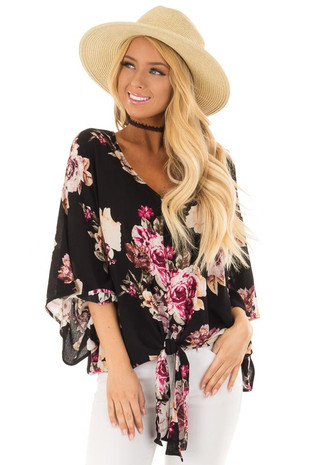 Black Floral Print Oversized Top with Front Tie front close up