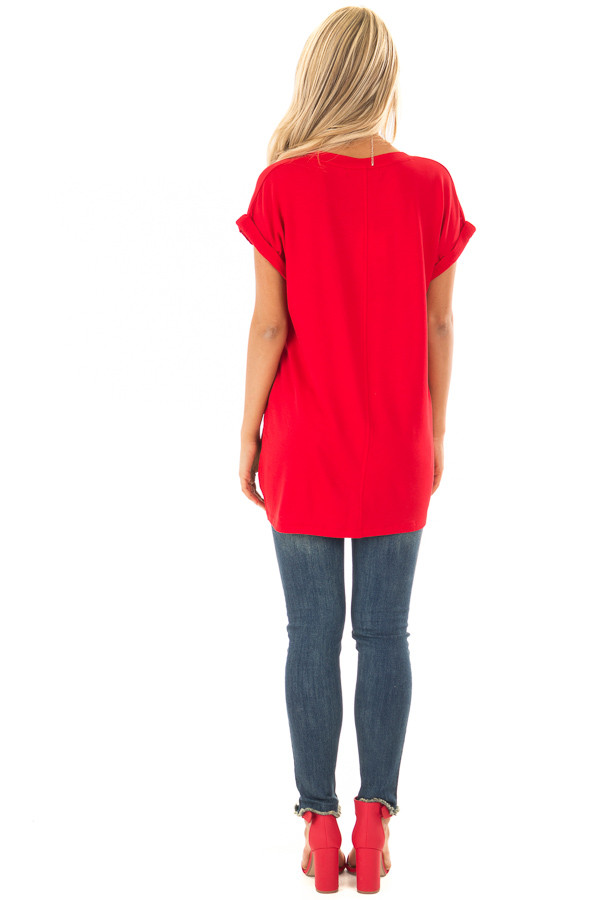 Cherry Red Tunic Top with Side Slits and Cuffed Sleeves back full body