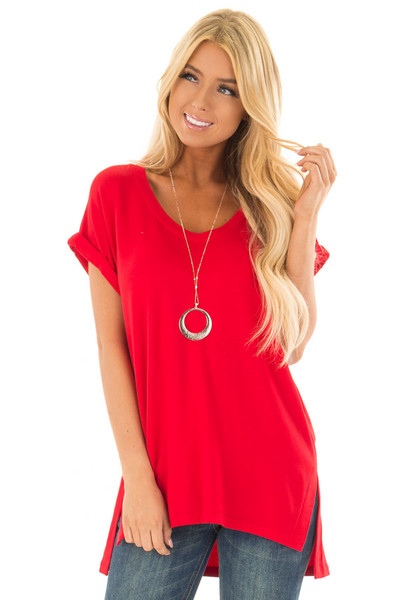 Cherry Red Tunic Top with Side Slits and Cuffed Sleeves front close up