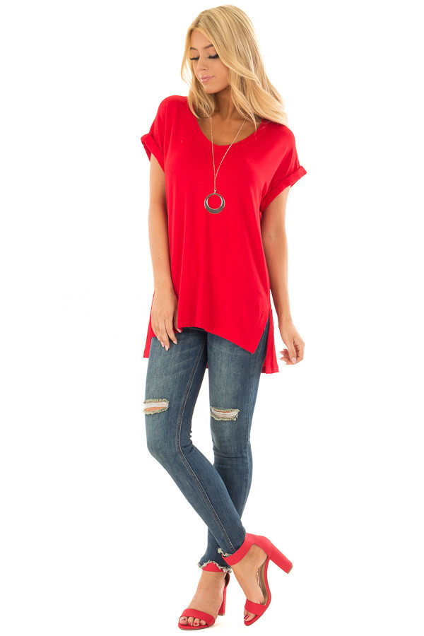 Cherry Red Tunic Top with Side Slits and Cuffed Sleeves front full body