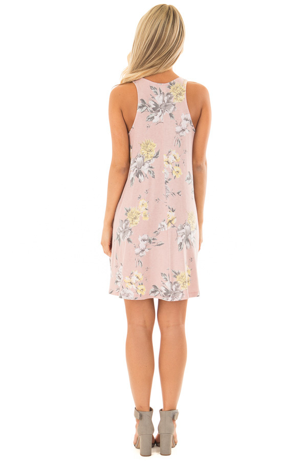 Dusty Rose Floral Print Dress with Hidden Pockets back full body