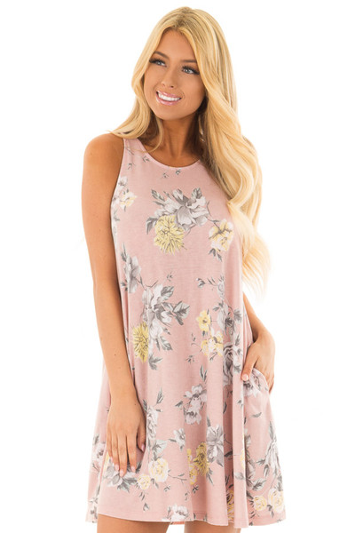 Dusty Rose Floral Print Dress with Hidden Pockets front close up