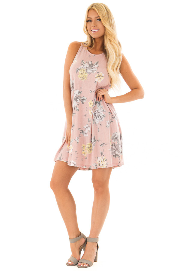 Dusty Rose Floral Print Dress with Hidden Pockets front full body