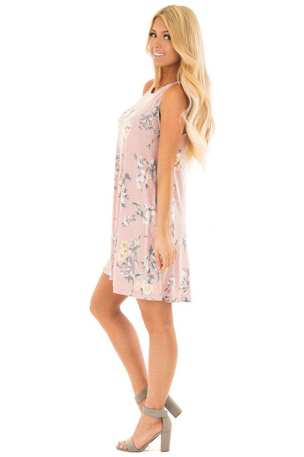 Dusty Rose Floral Print Dress with Hidden Pockets side full body
