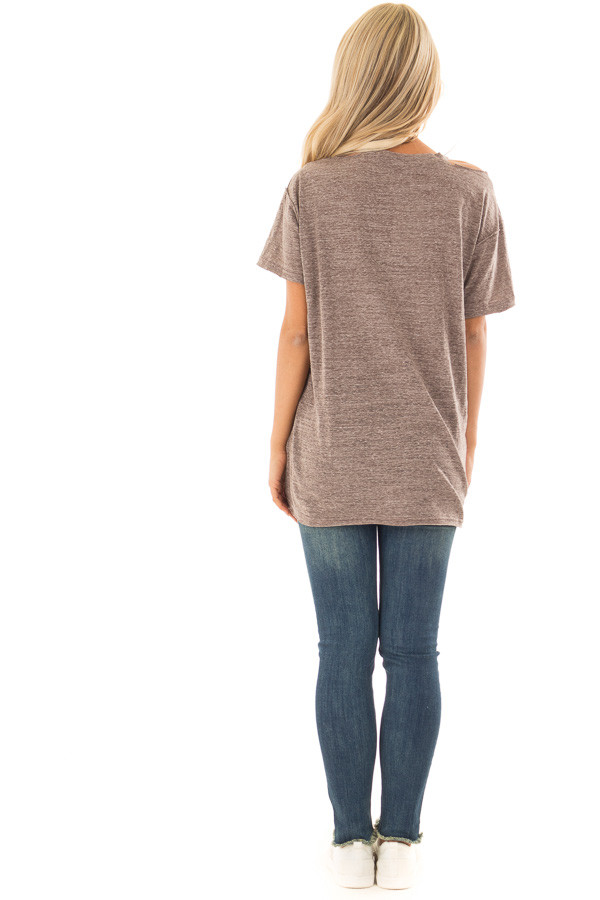 Cocoa Two Tone V Neckline Top with Cut Out Detail back full body